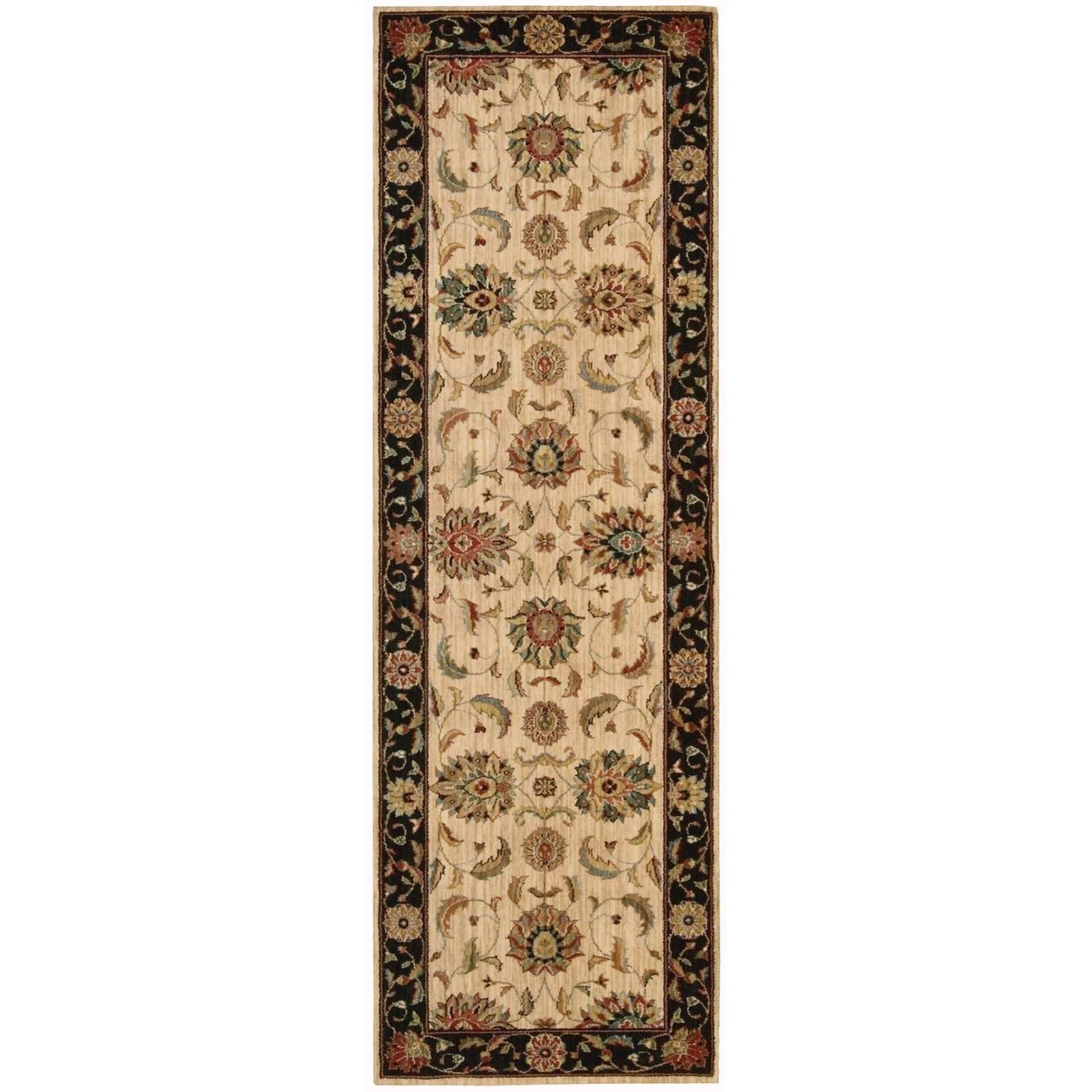 """Living Treasures 2'6"""" x 8' Ivory/Black Runner Rug by Nourison at Home Collections Furniture"""