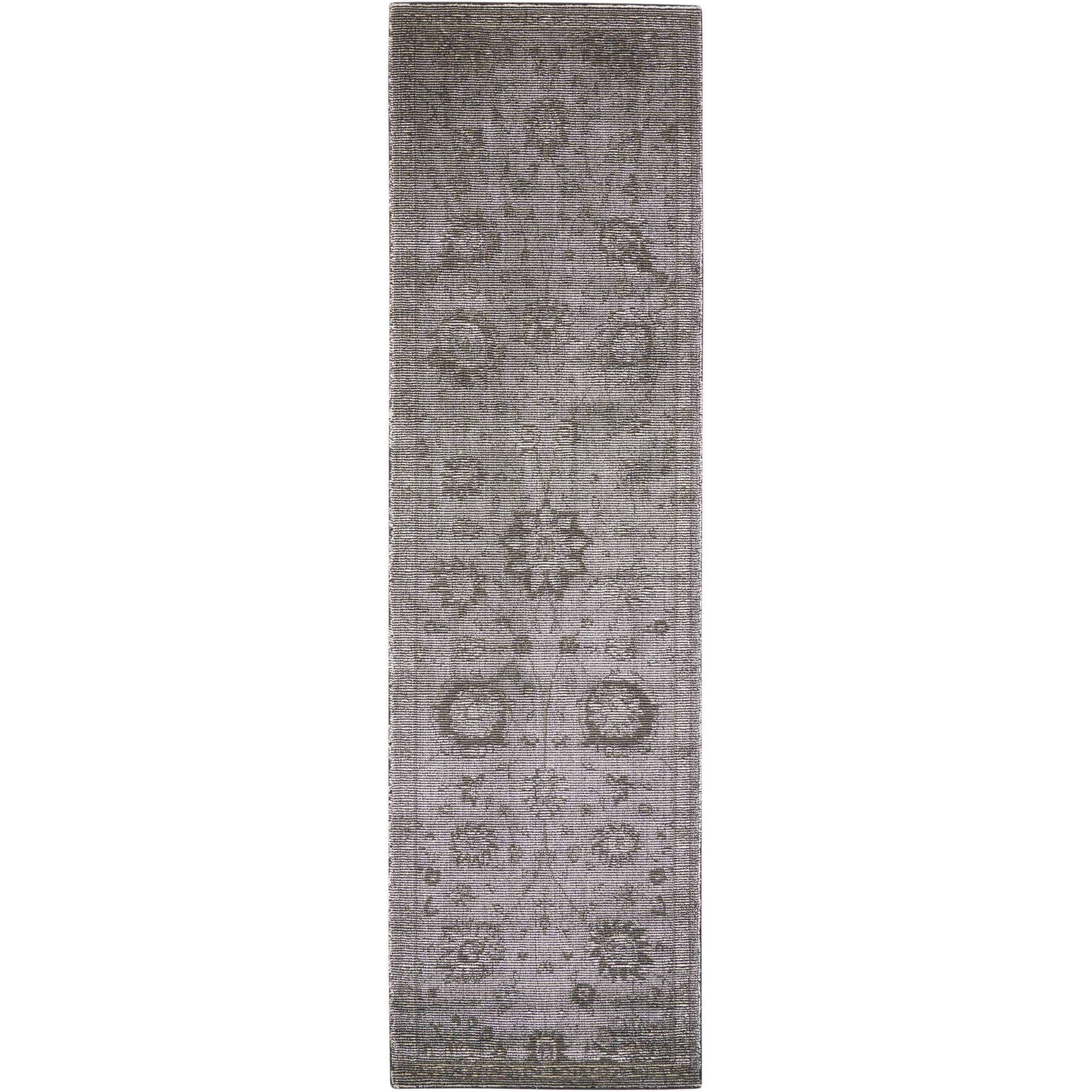 """Luminance 2'3"""" x 8' Graphite Runner Rug by Nourison at Home Collections Furniture"""