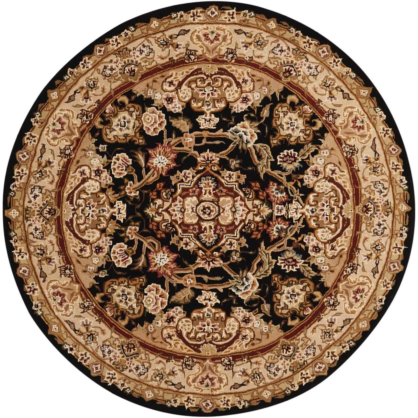 Nourison 2000 4' x 4' Black Round Rug by Nourison at Home Collections Furniture