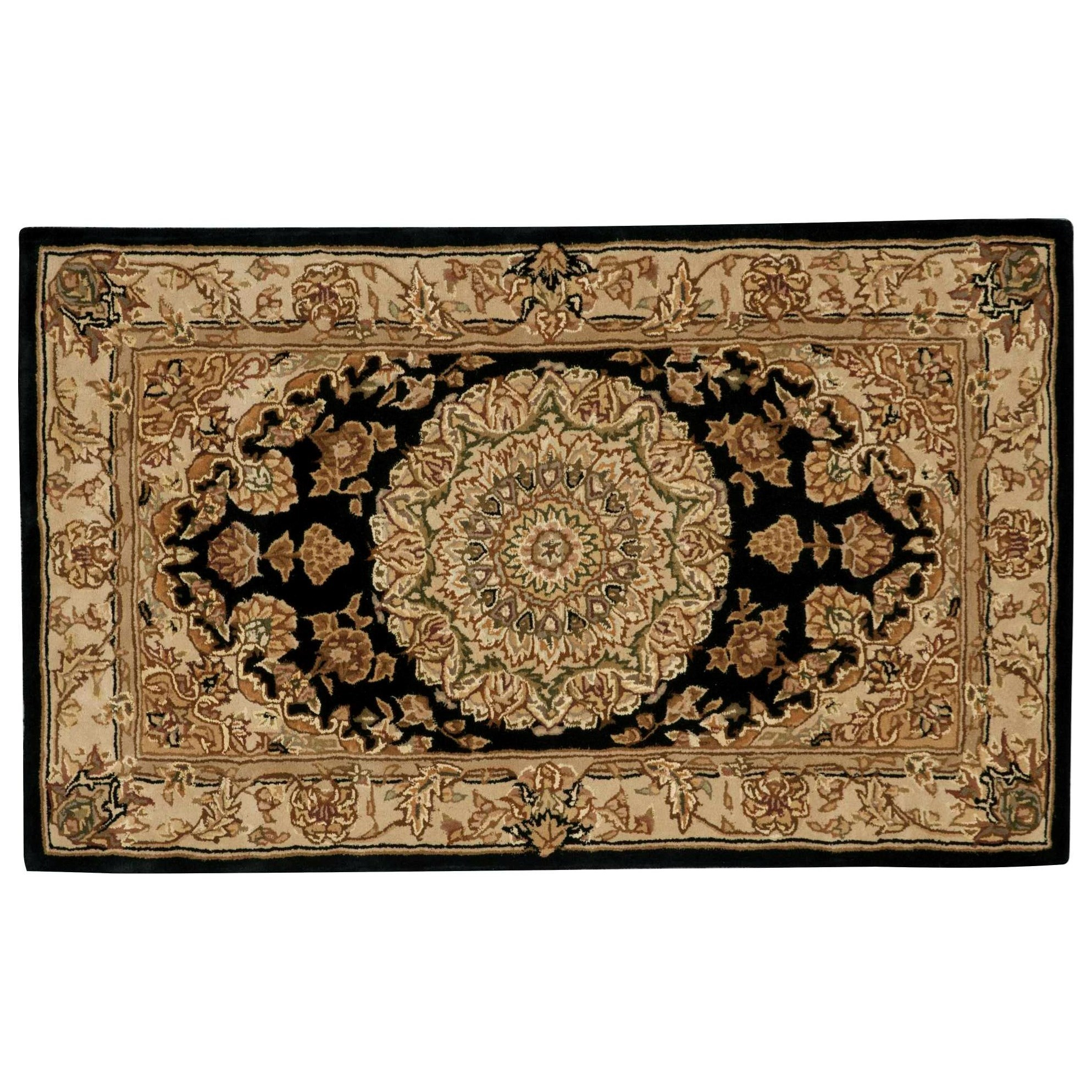 """Nourison 2000 2'6"""" x 4'3"""" Black Rectangle Rug by Nourison at Home Collections Furniture"""