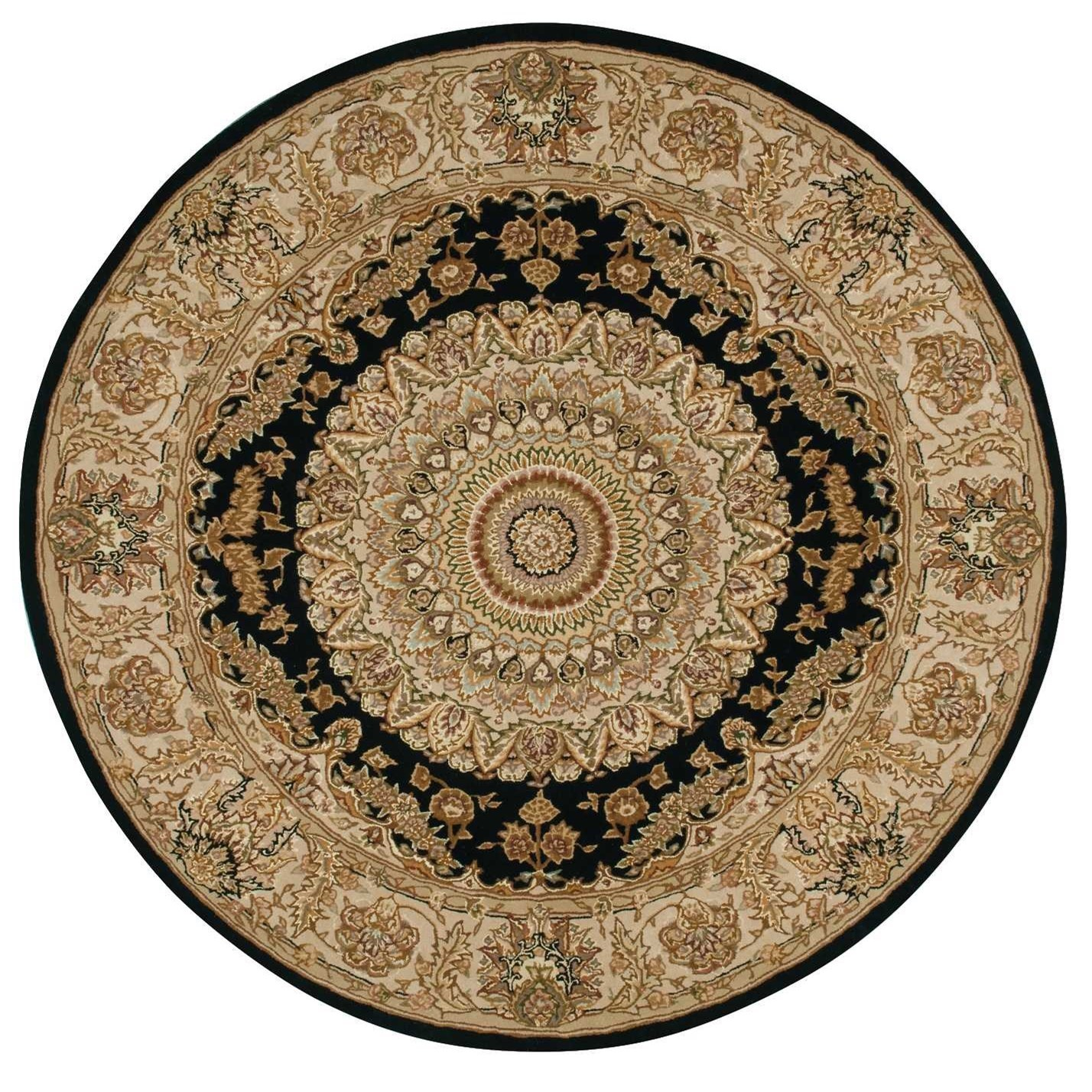 Nourison 2000 2000 2233 Black 4' Round  Area Rug by Nourison at Home Collections Furniture