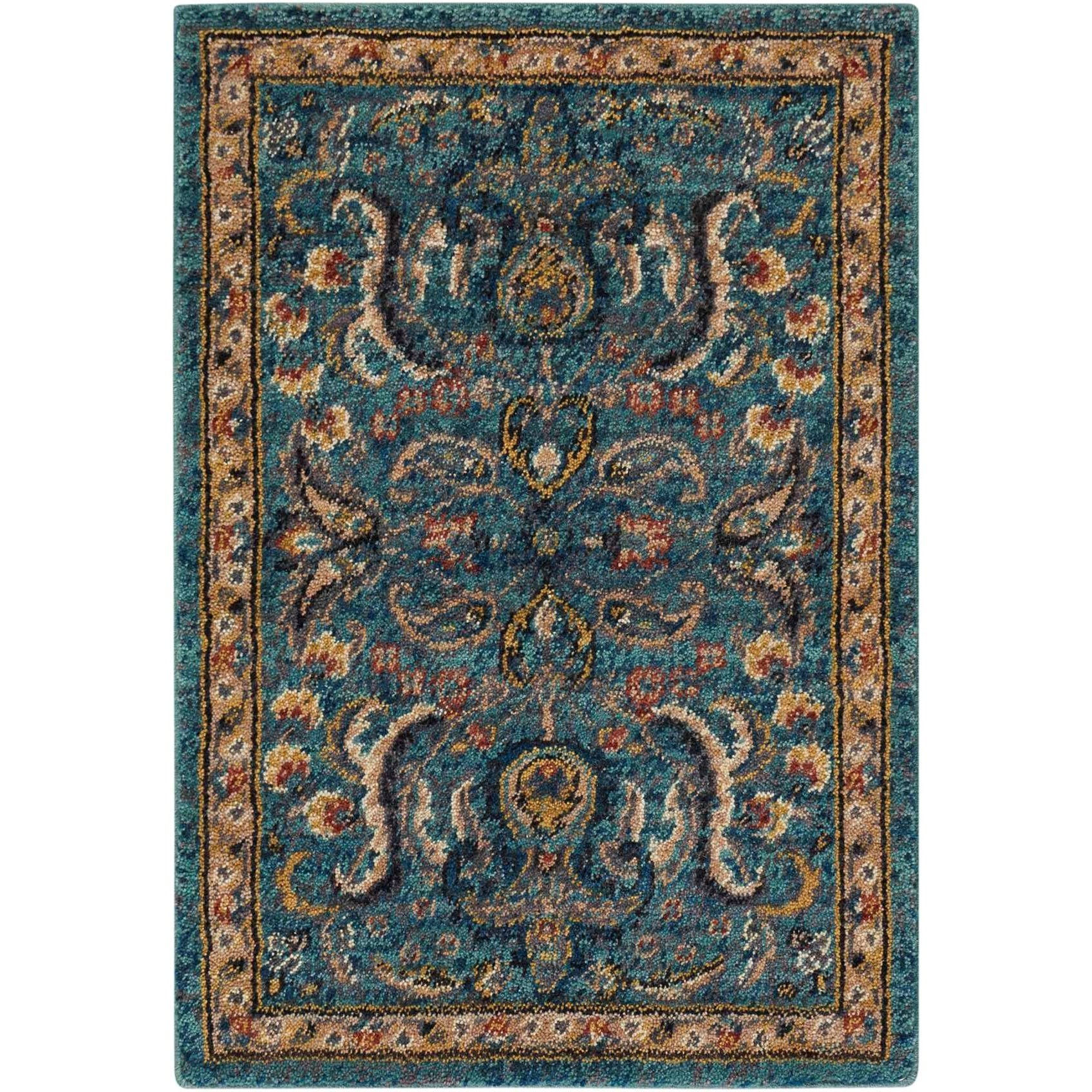 Nourison 2020 2' X 3' Teal Rug by Nourison at Home Collections Furniture