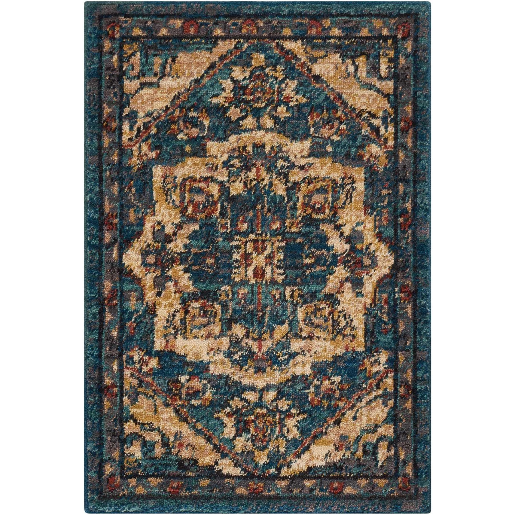 "Nourison 2020 2'6"" X 4'2"" Teal Rug by Nourison at Home Collections Furniture"