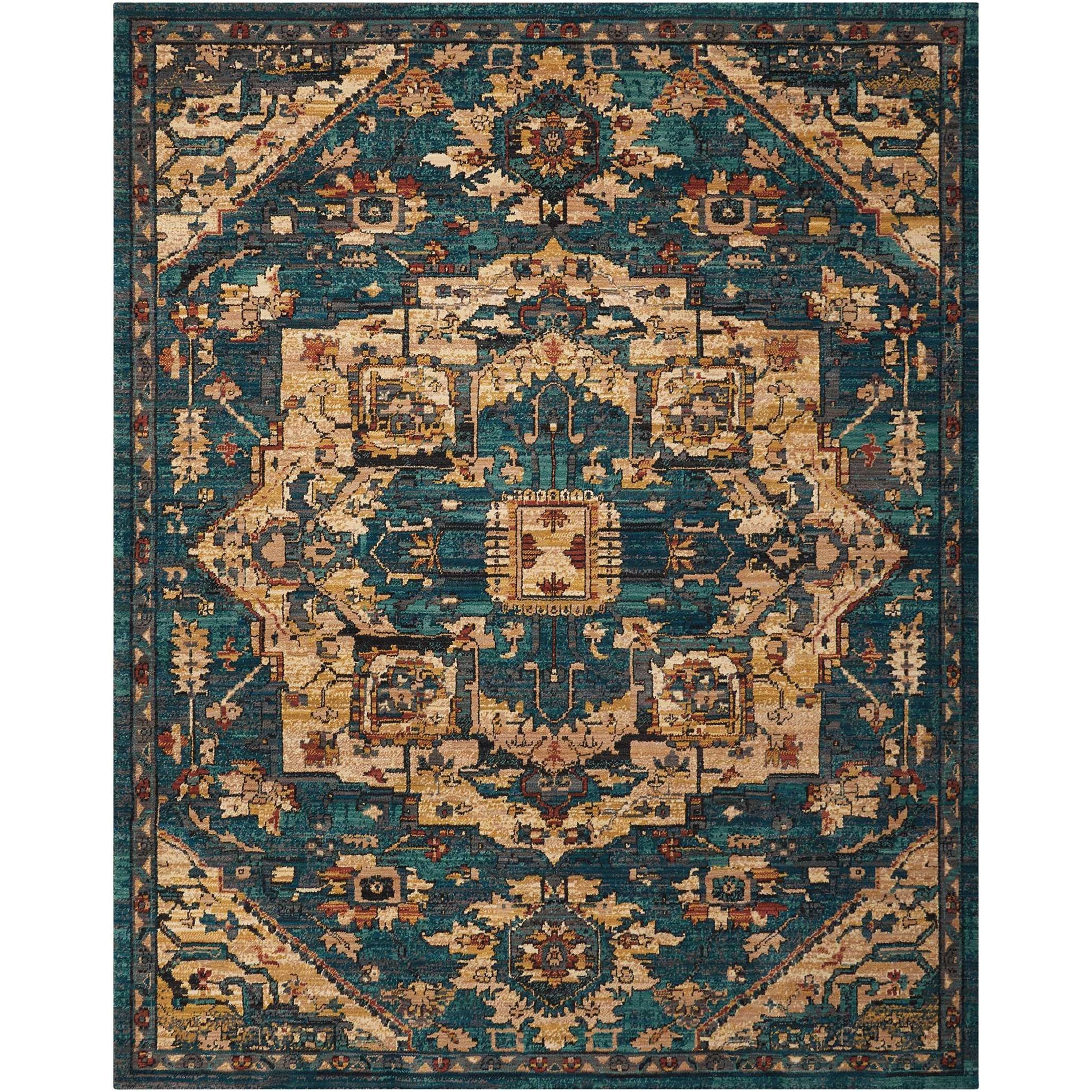 """Nourison 2020 9'2"""" X 12'5"""" Teal Rug by Nourison at Home Collections Furniture"""
