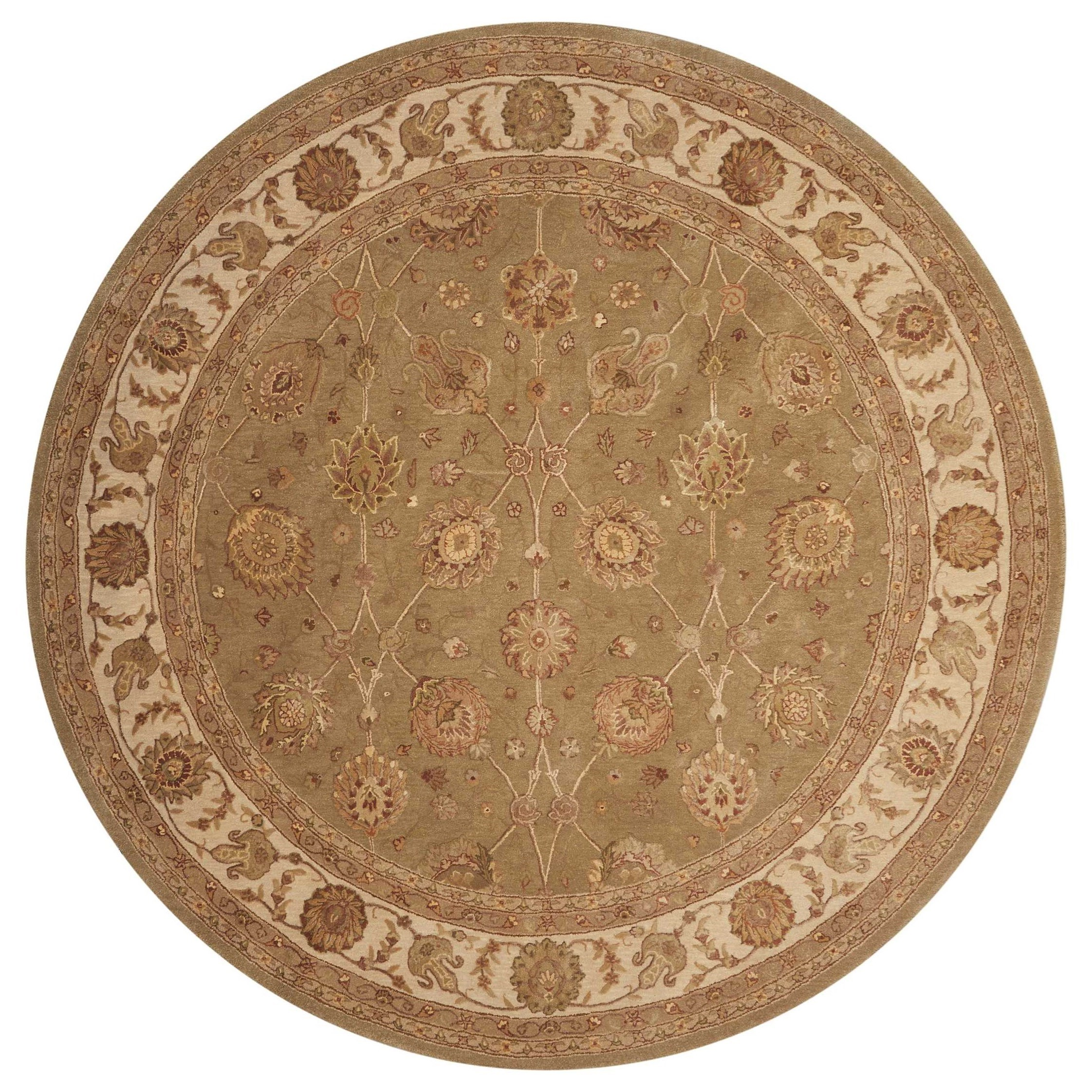 Nourison 3000 6' x 6' Light Green Round Rug by Nourison at Home Collections Furniture