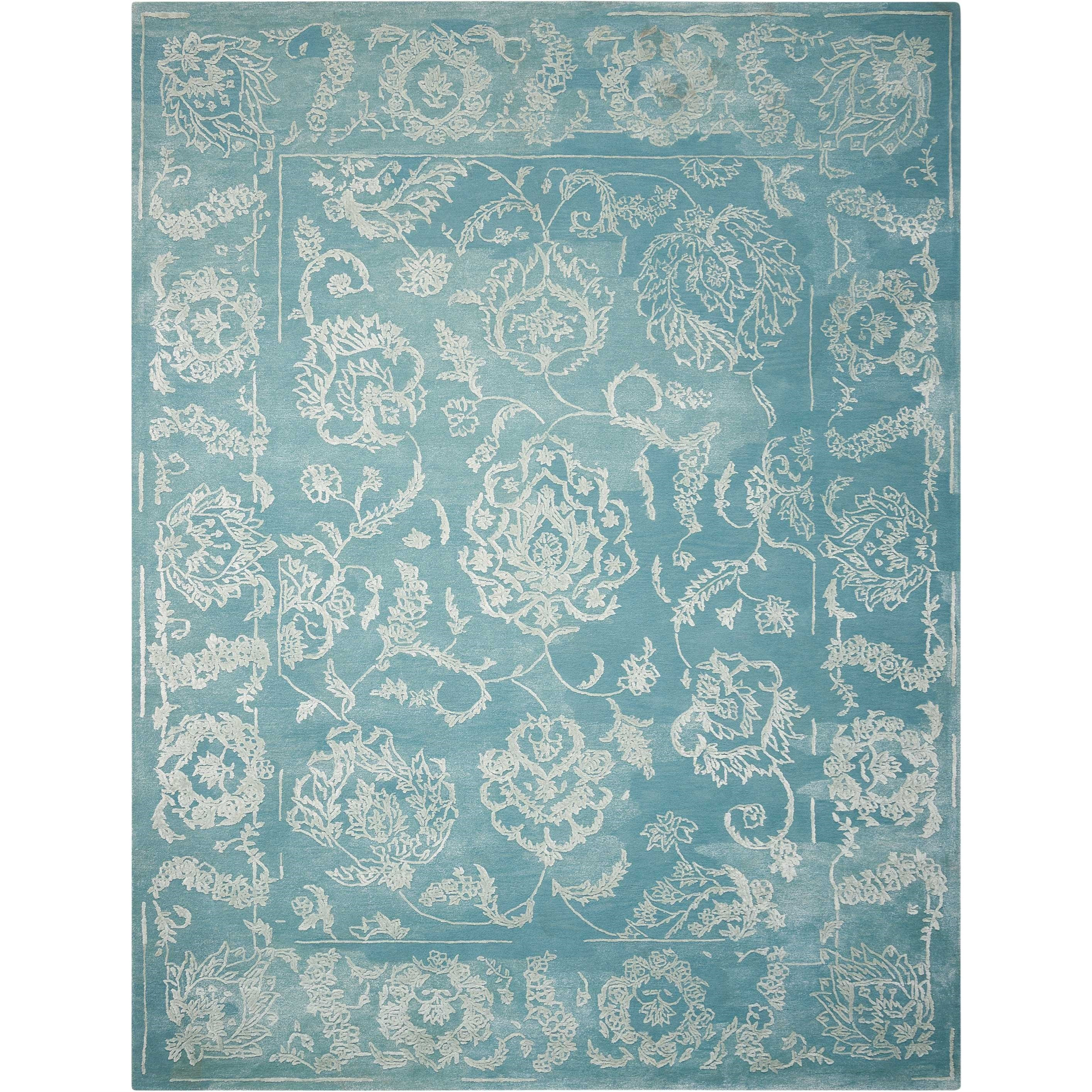 "Opaline 7'9"" X 9'9"" Aqua Rug by Nourison at Home Collections Furniture"