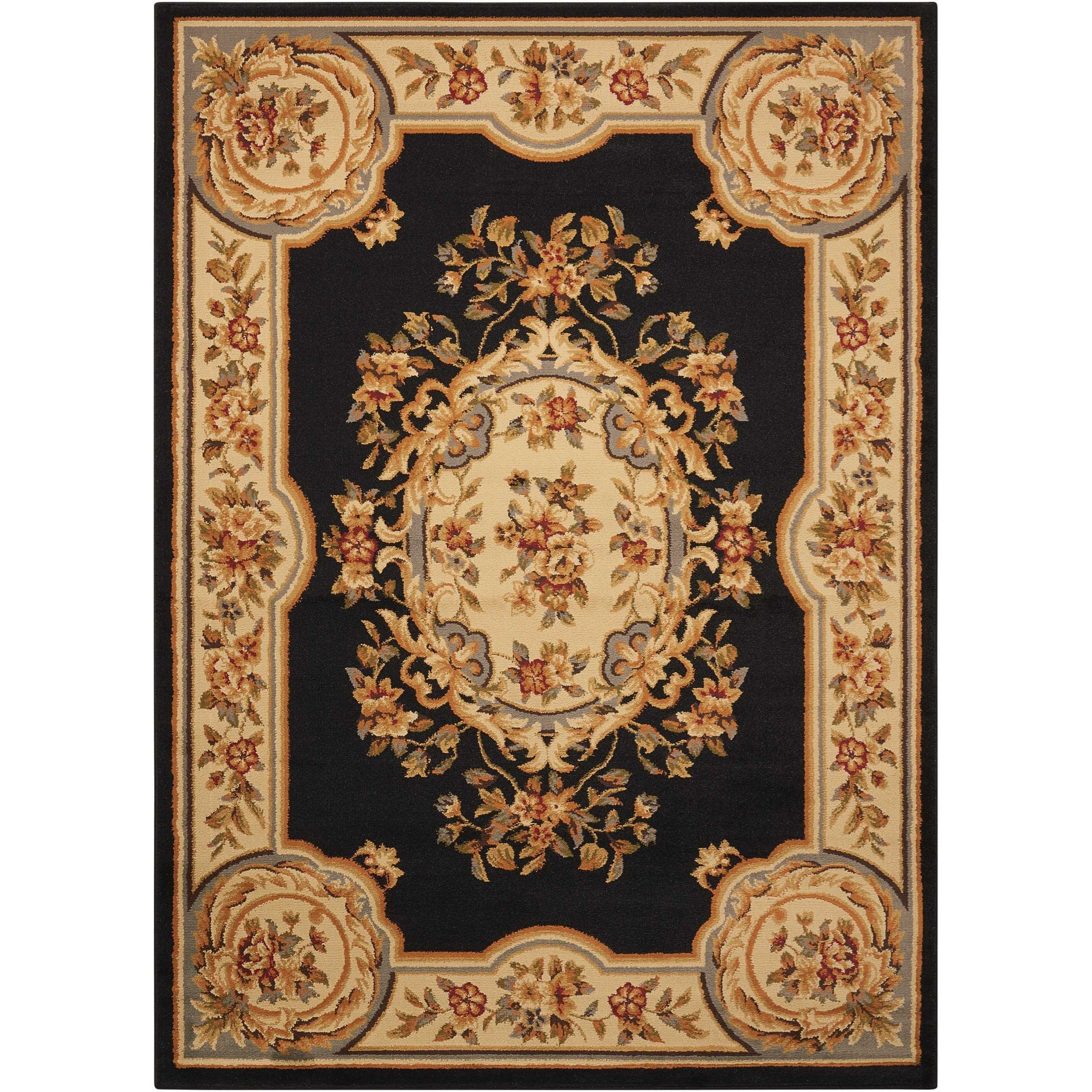"""Paramount 3'11"""" x 5'10"""" Black Rectangle Rug by Nourison at Home Collections Furniture"""