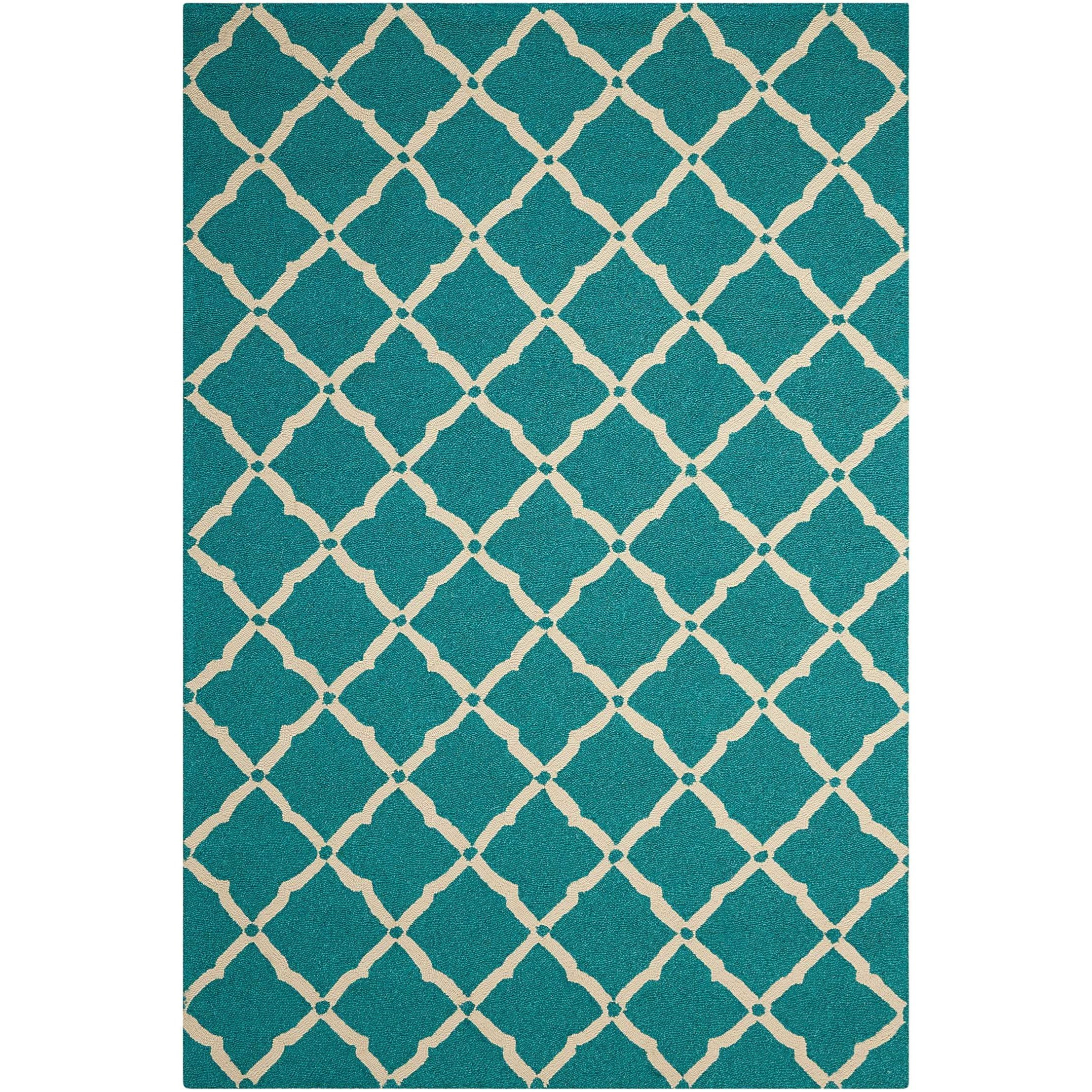 """Portico 3'6"""" x 5'6"""" Aqua Rectangle Rug by Nourison at Home Collections Furniture"""