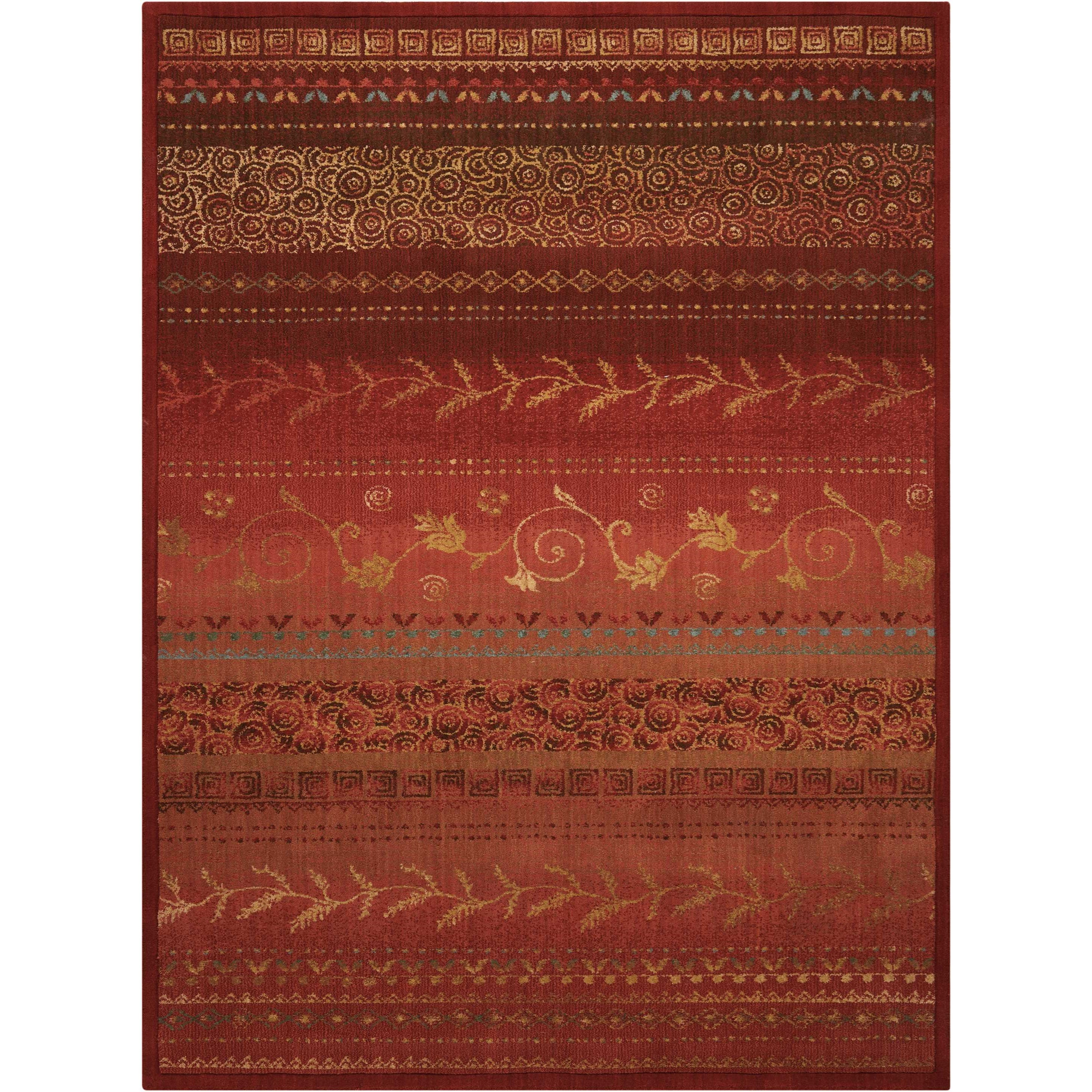 """Radiant Impression 5'6"""" x 7'5"""" Crimson Rectangle Rug by Nourison at Home Collections Furniture"""