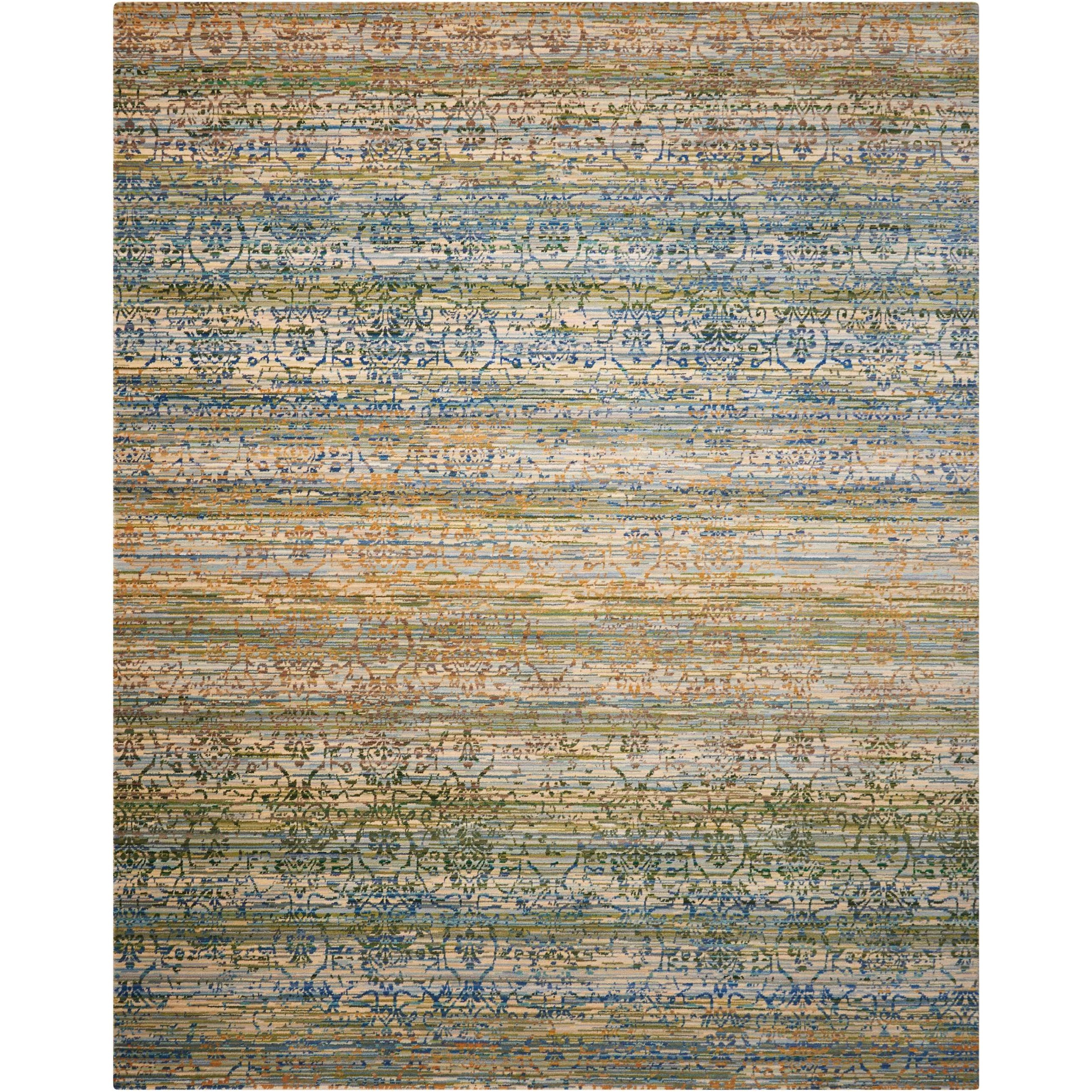 """Rhapsody 5'6"""" x 8' Beige Blue Rectangle Rug by Nourison at Home Collections Furniture"""