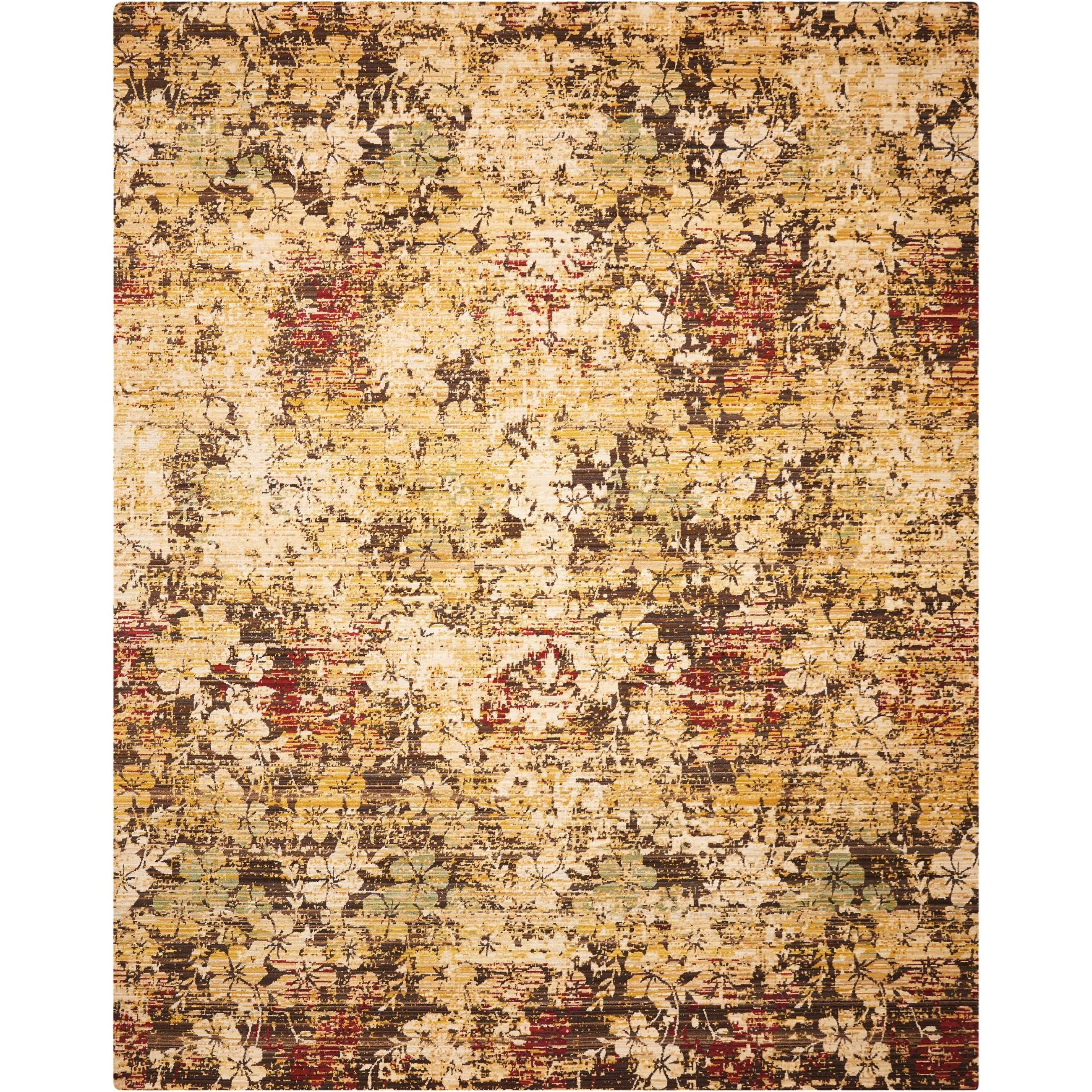 "Rhapsody 5'6"" x 8' Beige/Gold Rectangle Rug by Nourison at Home Collections Furniture"