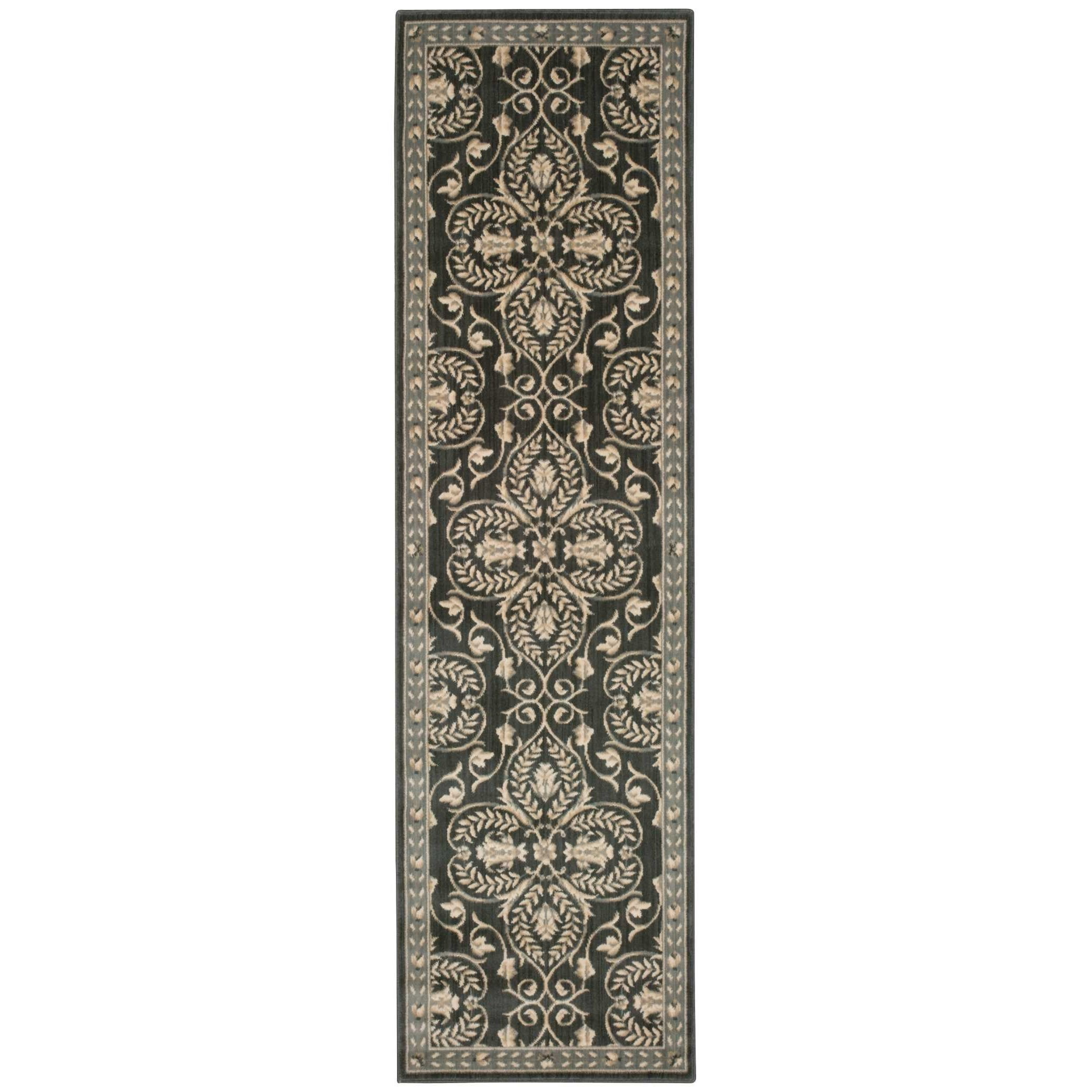 """Riviera 2'3"""" x 8' Graphite Runner Rug by Nourison at Home Collections Furniture"""