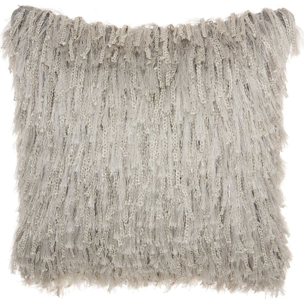 """Shag DC122 Light Grey 20"""" x 20"""" Throw Pillow by Nourison at Miller Waldrop Furniture and Decor"""
