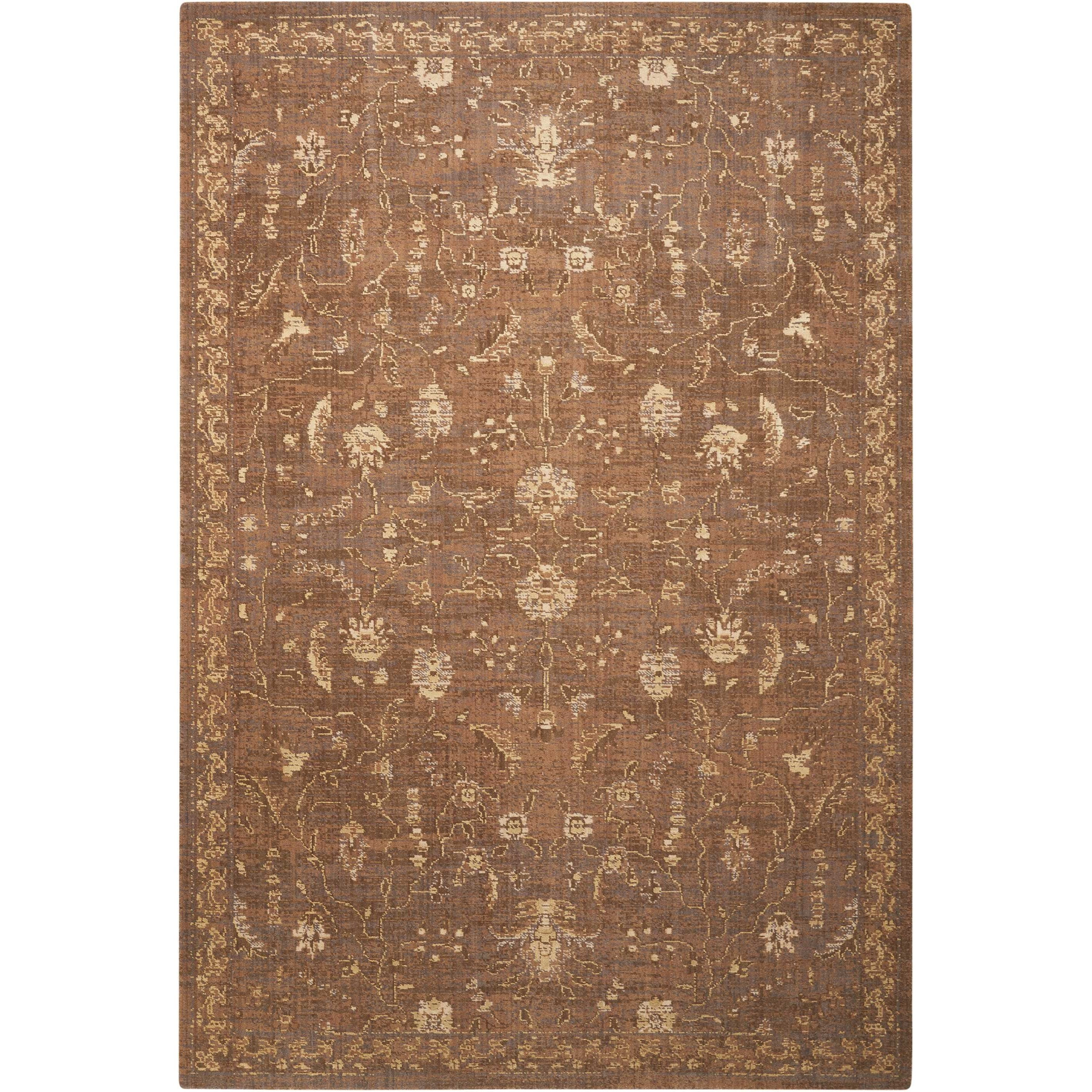 """Silk Elements 5'6"""" x 8' Cocoa Rectangle Rug by Nourison at Home Collections Furniture"""