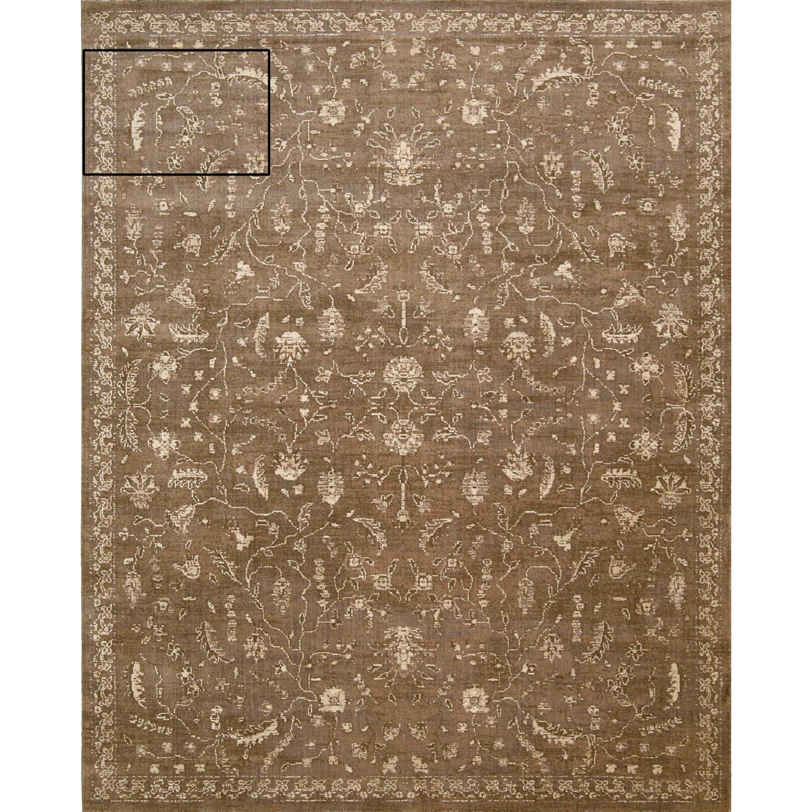 """Silk Elements 9'9"""" x 13' Cocoa Rectangle Rug by Nourison at Home Collections Furniture"""