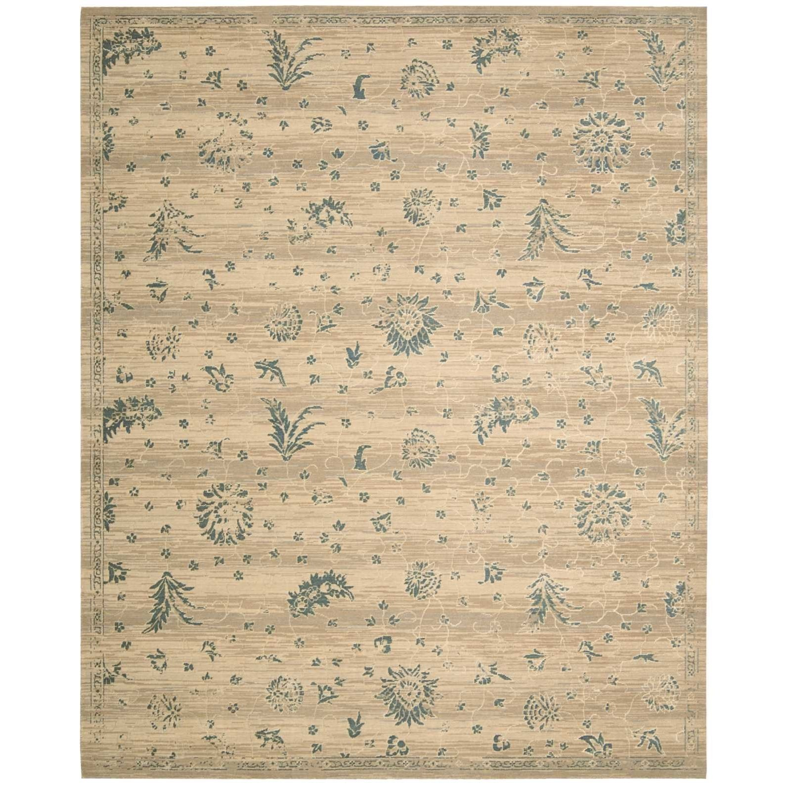 "Silk Elements 5'6"" x 8' Beige Rectangle Rug by Nourison at Home Collections Furniture"