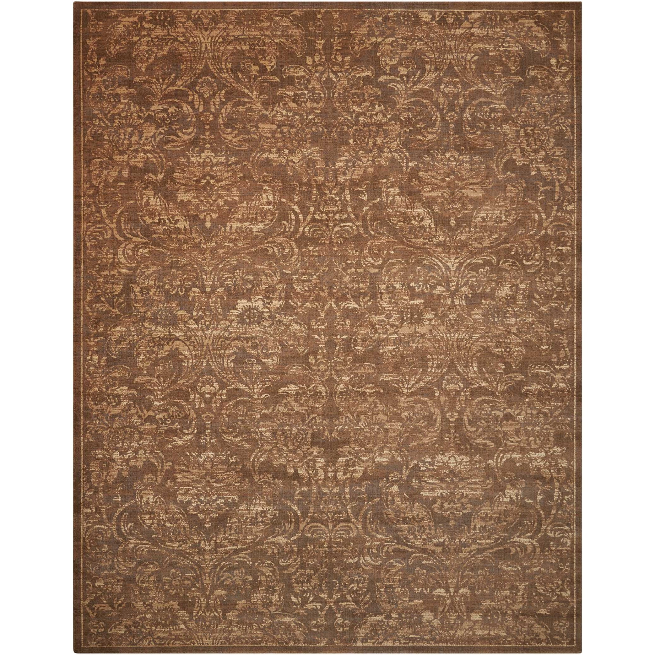"Silken Allure 7'9"" x 9'9"" Chocolate Rectangle Rug by Nourison at Home Collections Furniture"