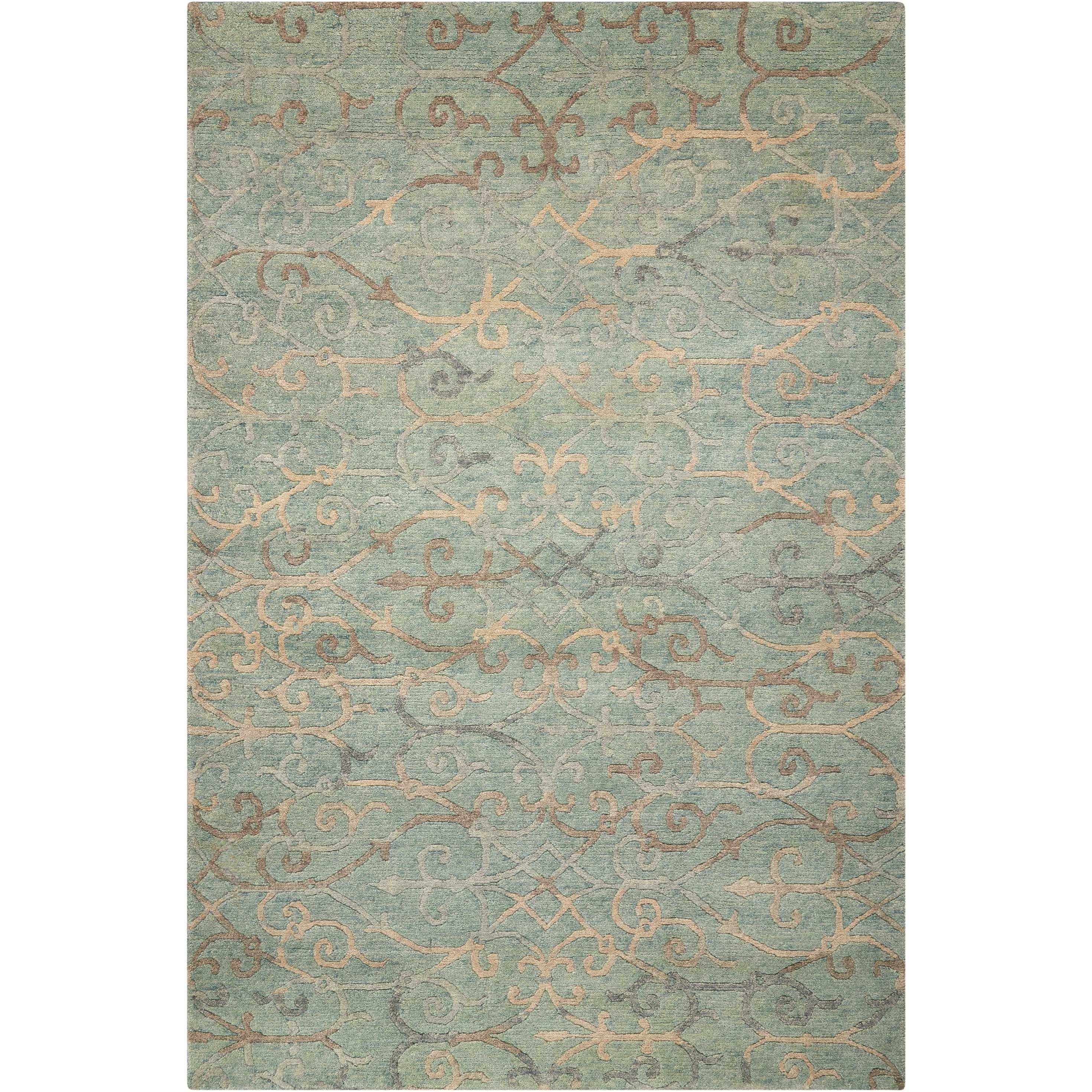 """Tahoe Modern 7'9"""" x 9'9"""" Seaglass Rectangle Rug by Nourison at Home Collections Furniture"""