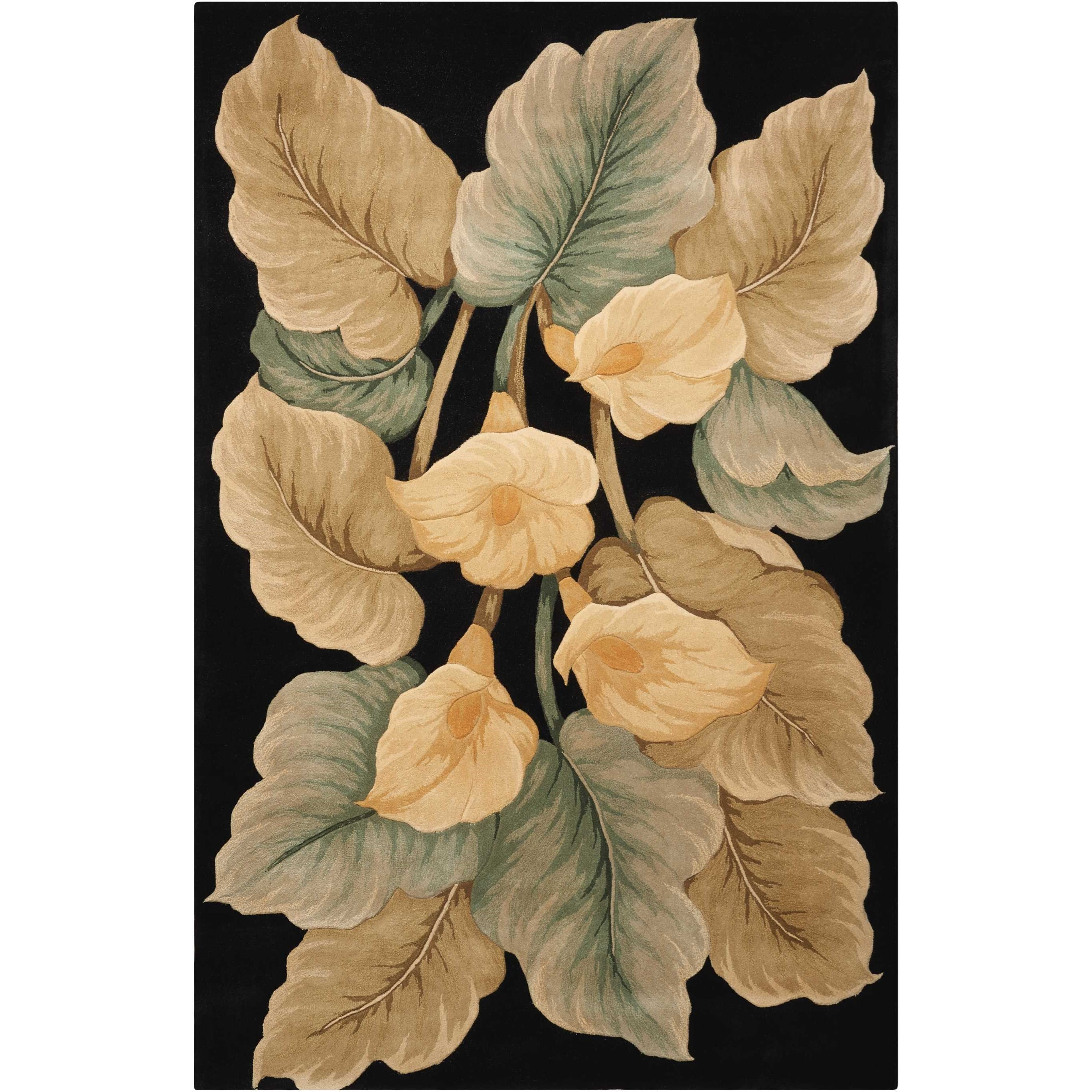 """Tropics 5'3"""" x 8'3"""" Black Rectangle Rug by Nourison at Home Collections Furniture"""