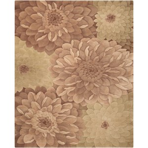 """5'3"""" x 8'3"""" Taupe/Green Rectangle Rug"""
