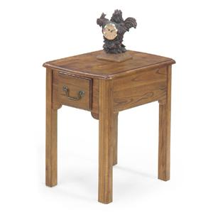 Single Drawer Rectangular End Table with Bail Hardware and Tall Legs