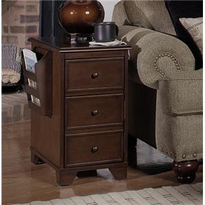 Magazine Storage End Table with Drink Tray, Storage Door and 2 Magazine Racks
