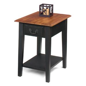 Rectangular End Table with Single Drawer and Bottom Shelf