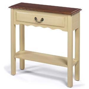 Small Rectangular Cream Console Table with Single Drawer, Bottom Shelf, and Brown Top