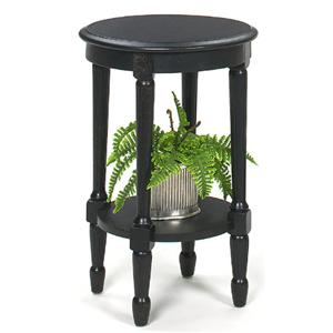 Round Black Crackle Accent Table with Bottom Shelf and Turned Legs
