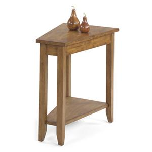 Wedge End Table with Bottom Shelf and Tall, Tapered Legs