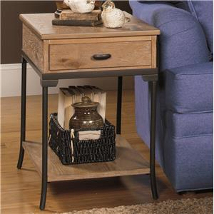 Rectangular End Table with Metal Legs