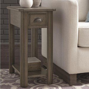 Chairside End Table with Drawer and Shelf