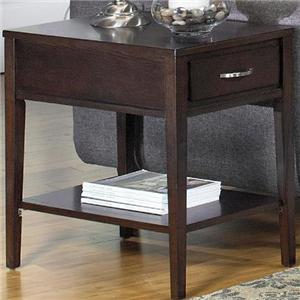 Rectangular End Table with Drawer and Shelf
