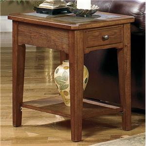 Rectangular Single Drawer End Table with Slate Top Inserts and Bottom Shelf