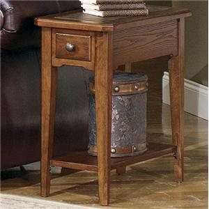 Rectangular Chairside End Table with Slate Top Insert and Bottom Shelf