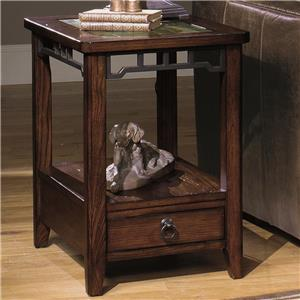 Rectangular End Table with Inset Stone Top