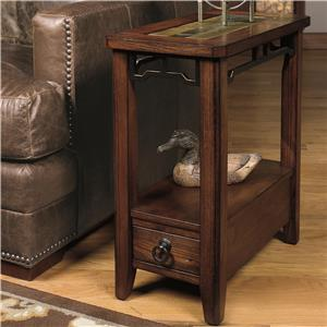 Chairside End Table with Inset Stone Top