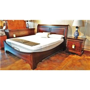 King Sleigh Bed with Panel Headboard and Curved Footboard