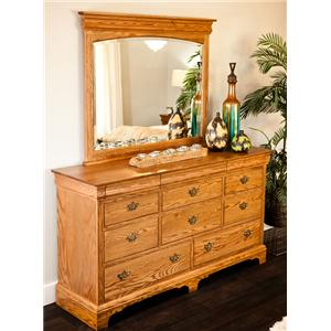 8-Drawer Dresser with 3 Hidden Drawers and Wood-Framed Mirror