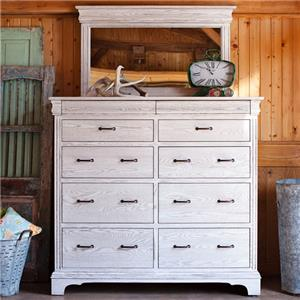 Grand Dresser and Mirror Set with 10 Drawers