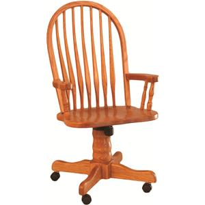 Bent Back Roller Arm Wood Chair
