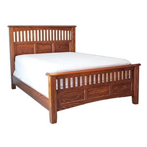 Queen Bed with Panel Headboard and Footboard with Slats