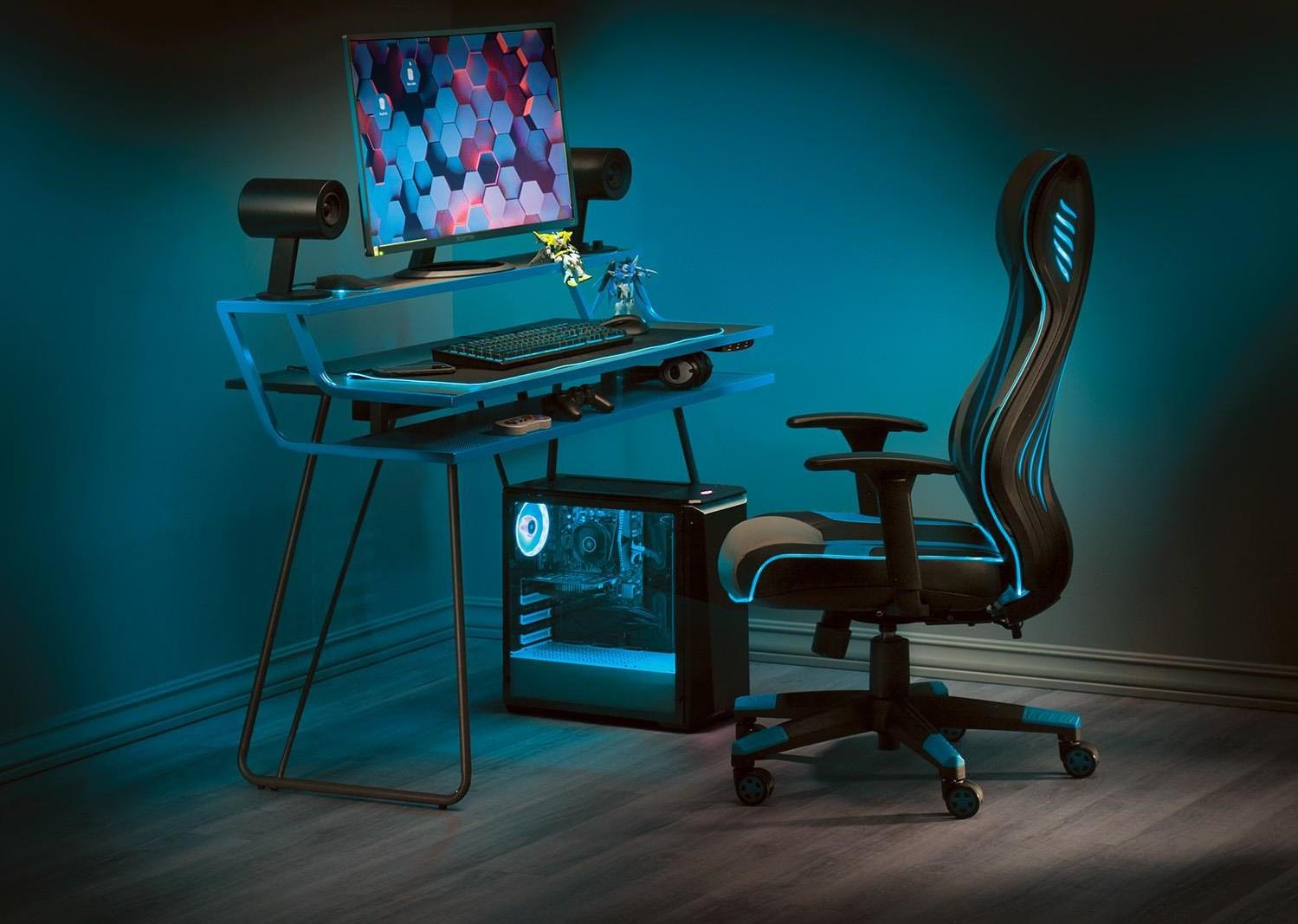 Gaming Desks Glitch Battlestation Gaming Desk by Office Star at Sam Levitz Outlet