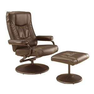 Brown Swivel Recliner and Ottoman