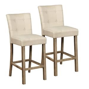 """Pair of Oatmeal Linen 24"""" Barstools"""
