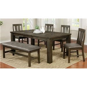 6 Piece Grey Dining Set with Bench