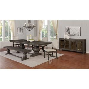 7 Piece Rectangular Dining Extension Table and 6 Upholstered Side Chairs Set