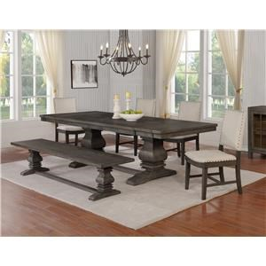 6 Piece Rectangular Dining Room Extension  Table, 4 Upholstered Side Chairs and Bench Set