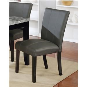 Grey Faux Leather Dining Side Chair
