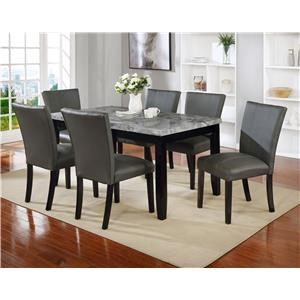 7 Piece Rectangular Faux Marble Dining Set